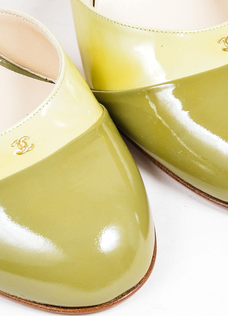 Green Chanel Patent Leather Round Toe Slingback Pumps Detail
