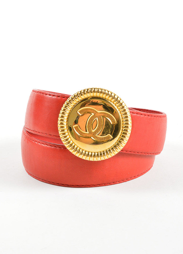 "Chanel Red and Gold Toned Leather ""CC"" Round Buckle Belt Frontview"