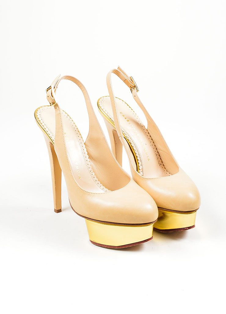 Nude and Gold Charlotte Olympia Leather Metallic Platform Slingback Pumps Frontview