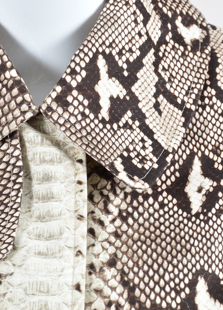 Brown and Beige Chloe Snakeskin Print Cotton Coat Detail