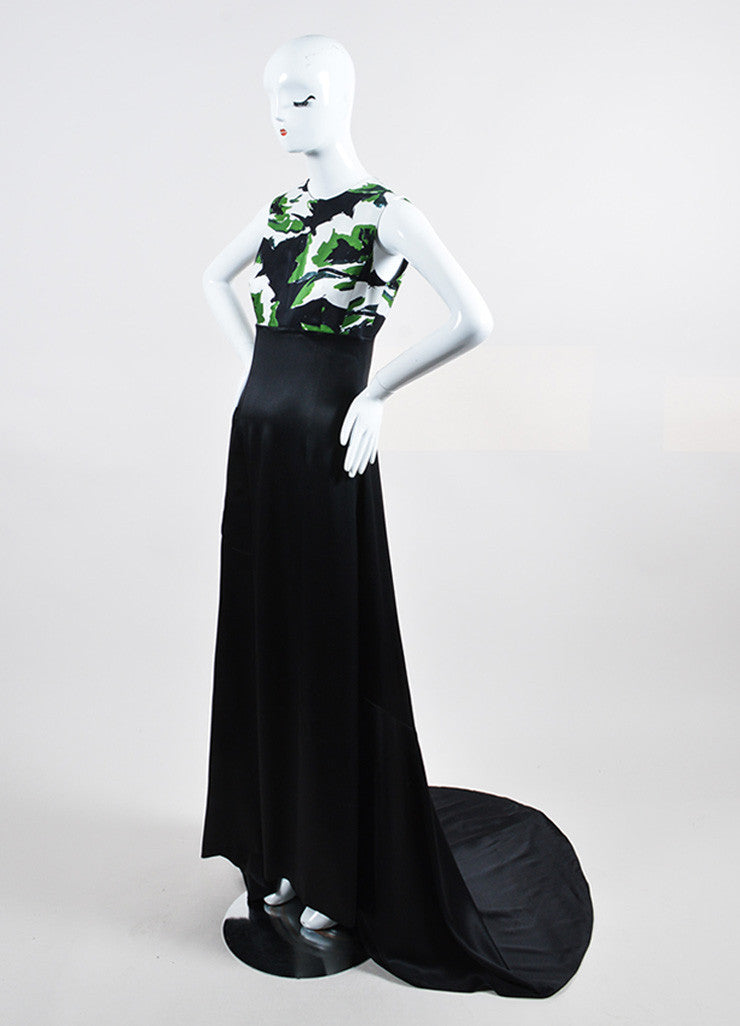 Black, Green, and White Christian Dior Silk Printed Gown Sideview
