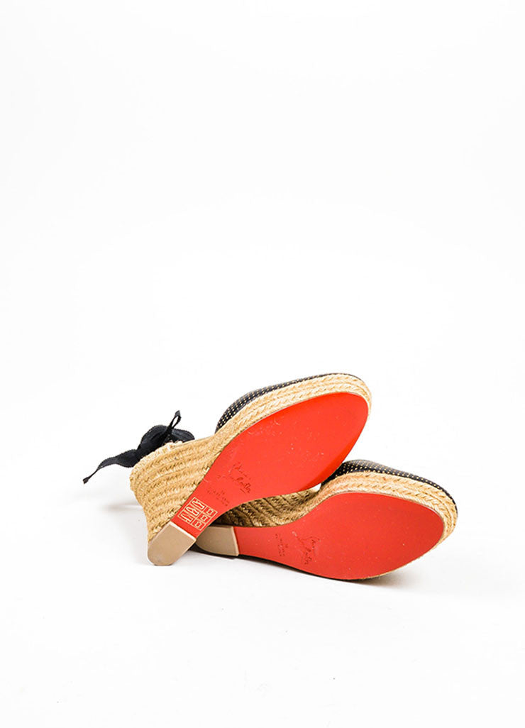 Black and Gold Christian Louboutin Perforated Leather Espadrille Wedges Outsoles