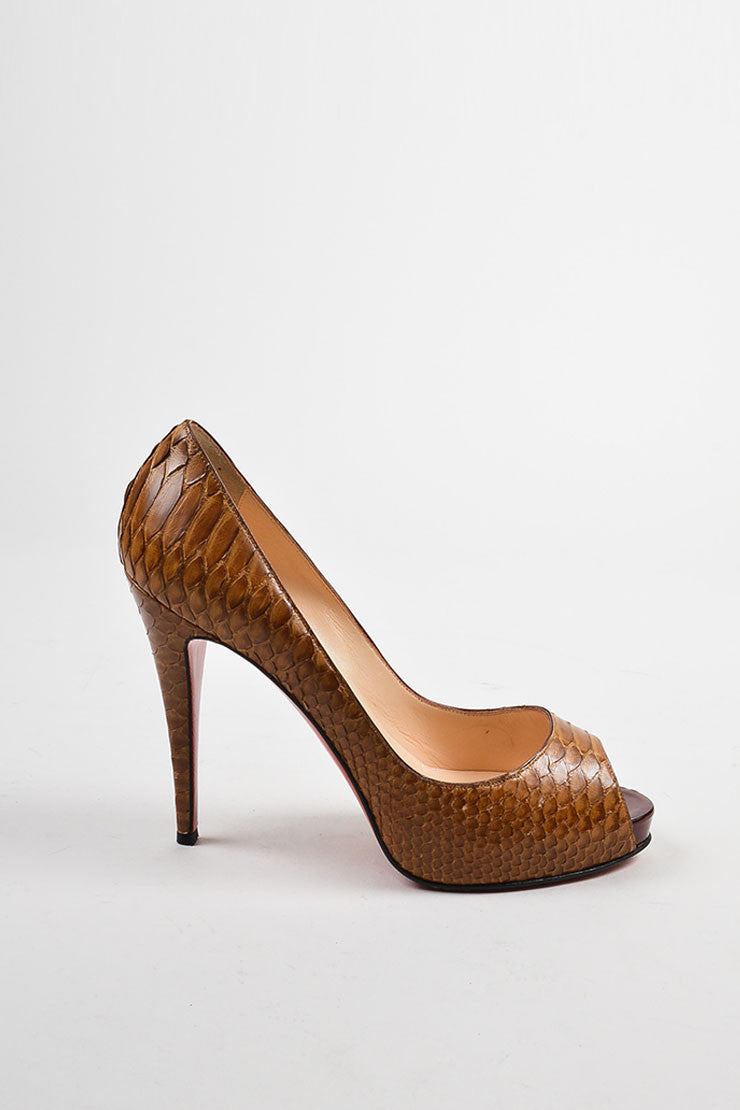"Christian Louboutin Brown Python ""Very Prive"" Peep Toe Platform Pumps Sideview"