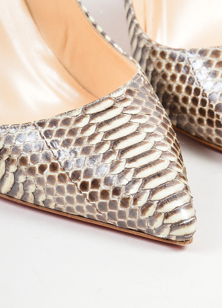 "Christian Louboutin Cream and Taupe Python ""Batignolles 100"" Point Pumps Detail"