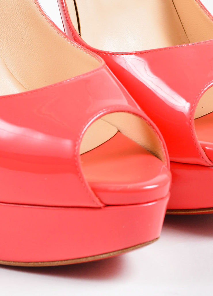 "Coral Pink Christian Louboutin Patent Leather ""Lade Peep 150"" Pumps Detail"