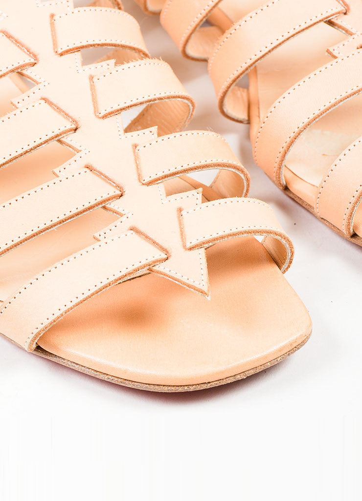 "Nude Christian Louboutin Leather Gladiator ""Neronna"" Flat Sandals Detail"