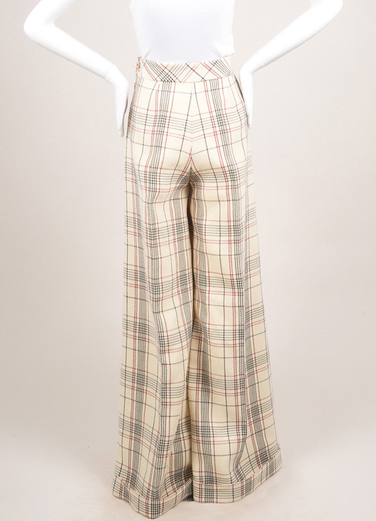 Delpozo New With Tags Cream, Red, and Black Wool Plaid Ultra Wide Leg Trousers Backview
