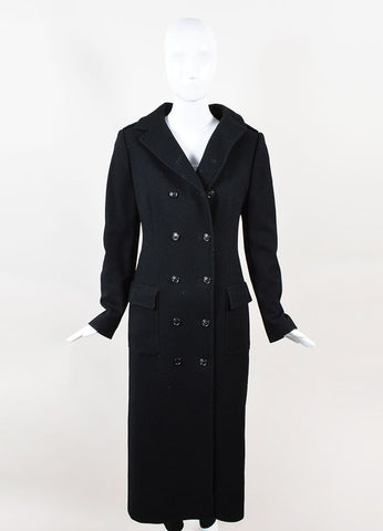 Dolce & Gabbana Black Double Breasted Ankle Length Long Coat Frontview