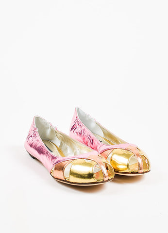 Dolce & Gabbana Pink, Orange, and Gold Metallic Patent Leather Cut Out Flats Frontview