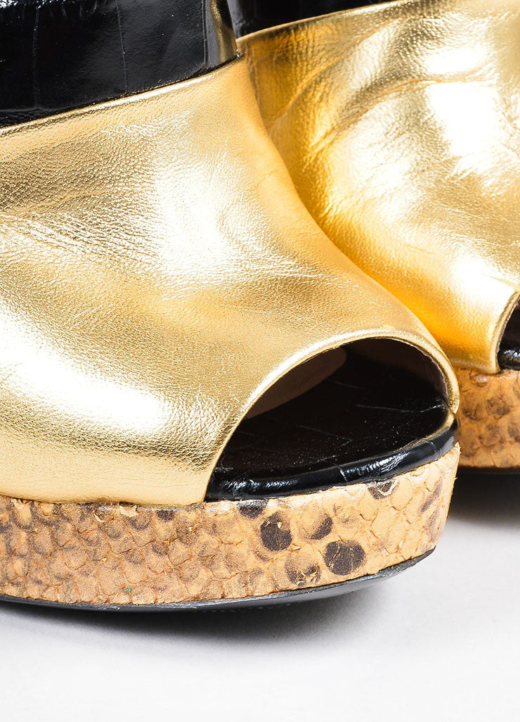 Dries Van Noten Gold and Black Leather Snake Croc Embossed Platform Heels Detail
