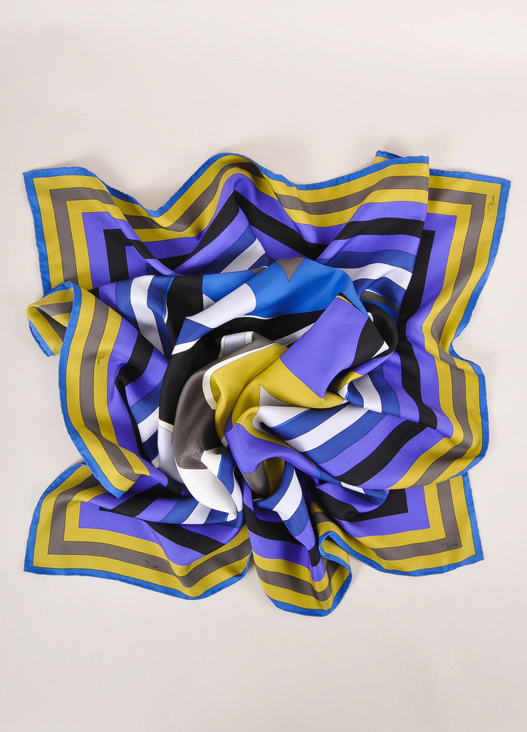 Emilio Pucci Multicolor Abstract Print and Striped Border Silk Scarf Frontview