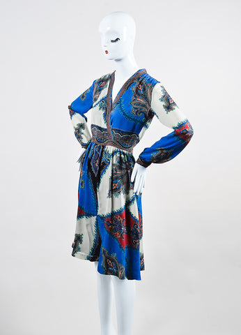 Blue and Multicolor Etro Silk Chiffon Paisley Print V-Neck Long Sleeve Dress Sideview