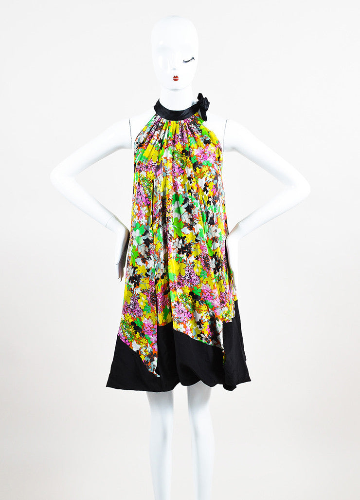Black and Multicolor Etro Silk Floral Print Tie Neck Sleeveless Trapeze Dress Frontview