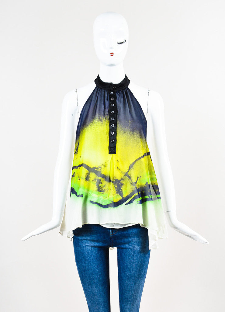 Lime Green Navy Etro Silk Chiffon Printed Buttoned Sleeveless Top Front
