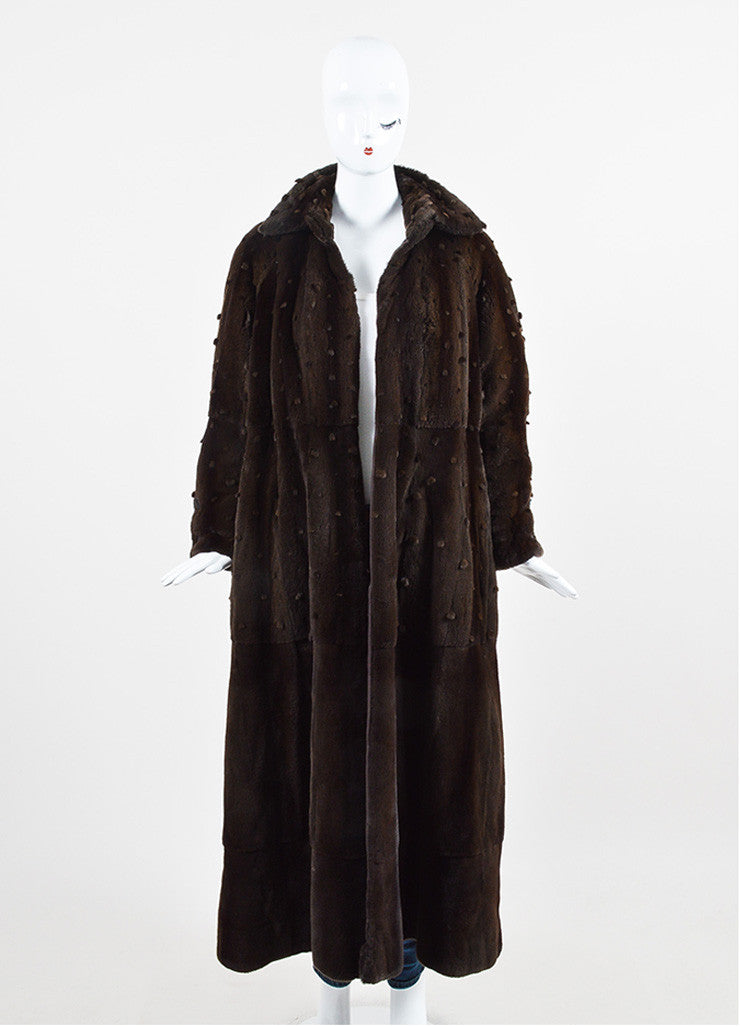 Ì_Ì_å¢Ì_?ÁÌ_Ì_Fendi Brown Sheared Mink Dot Pattern Long Open Front Coat Frontview