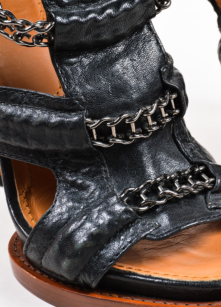 Black Givenchy Leather Chain Link High Heel Gladiator Sandals Detail