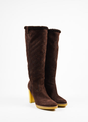 "Gucci Brown Shearling ""Guccissima"" Tall Heeled Boots Frontview"
