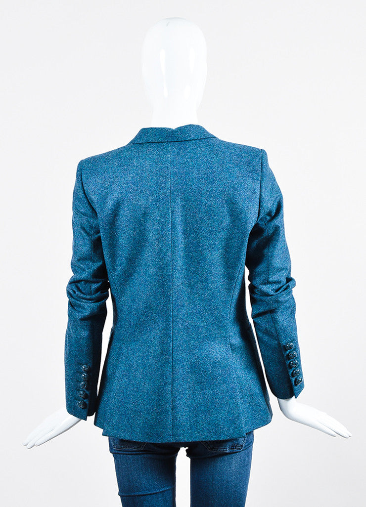 Blue Gucci Wool Speckled Blazer Jacket Backview