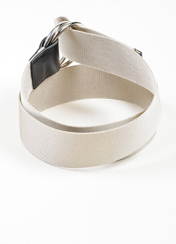 Beige Hermes Canvas Silver Toned Ring Hardware Belt Backview