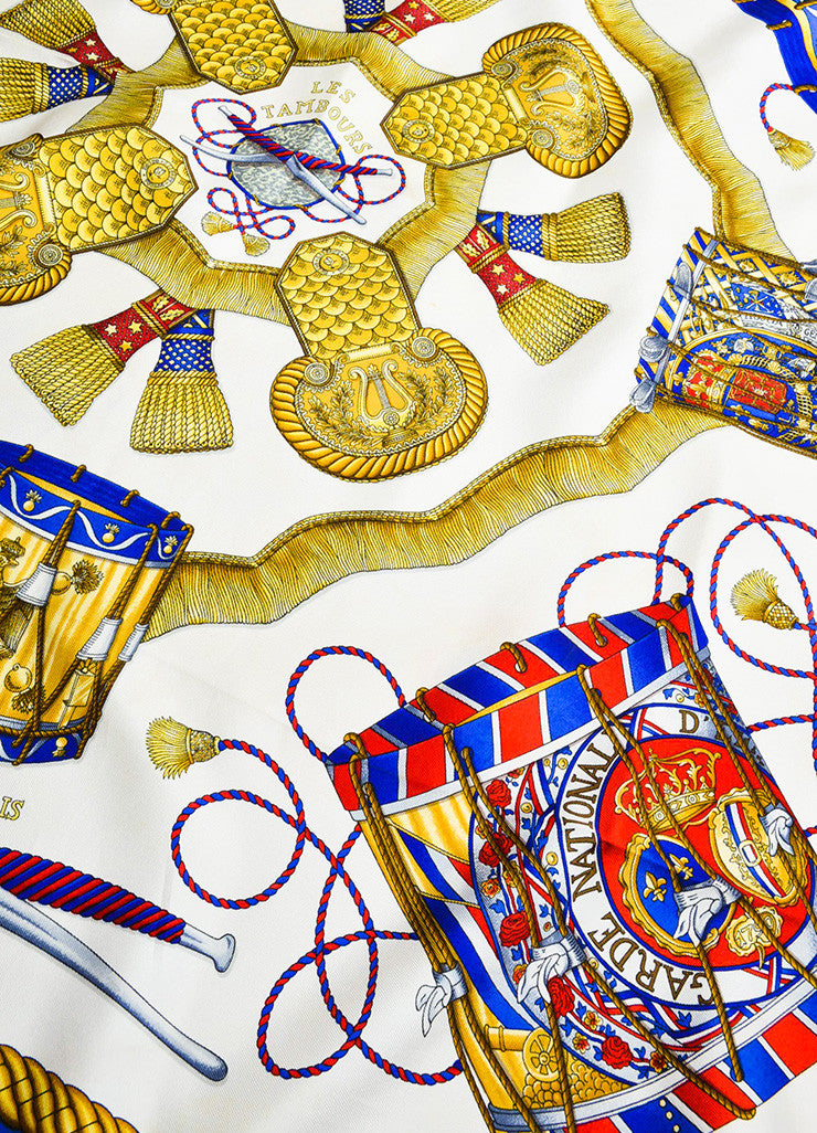 "Hermes Blue, Gold, and Red Silk ""Les Tambours"" Drum Print 90cm Scarf Detail"