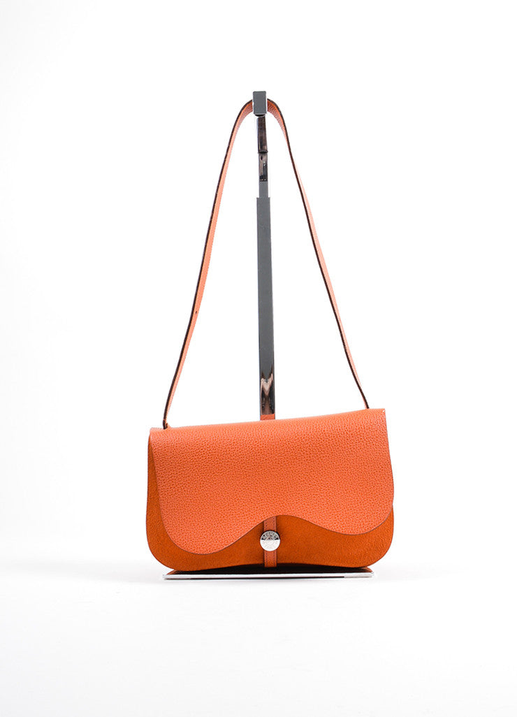 "Hermes Orange Toile Canvas Rodeo Leather Double Flap ""Colorado PM"" Shoulder Bag Frontview"