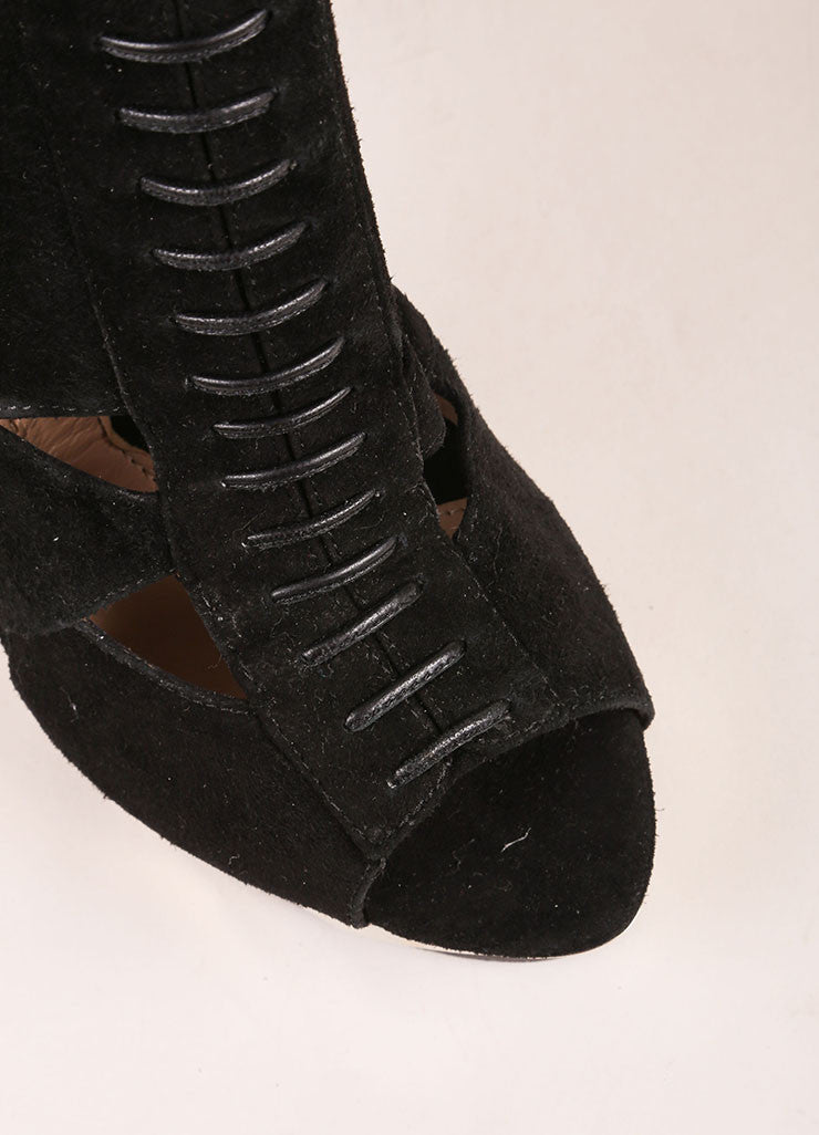 "Herve Leger Black and Silver Suede Leather Platform ""Kalina"" Ankle Boots Detail"