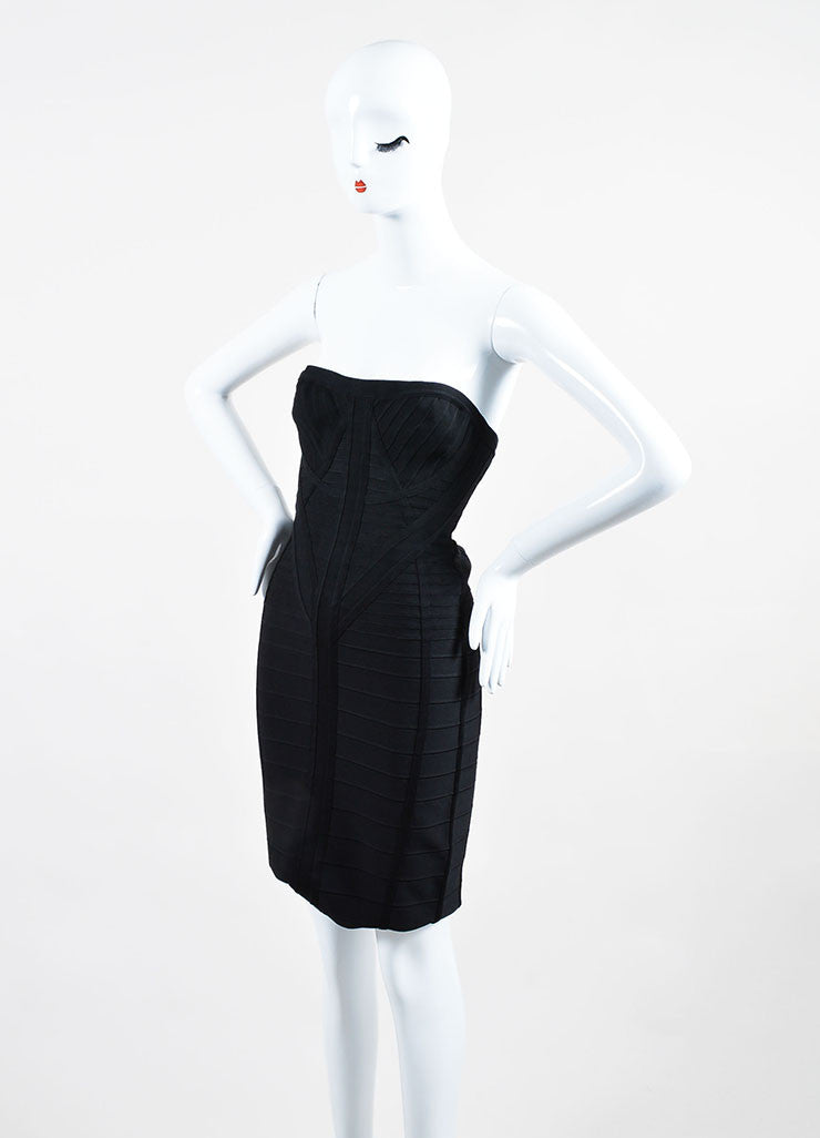 "Black Herve Leger Strapless Bodycon Bandage ""Kabele"" Dress Sideview"