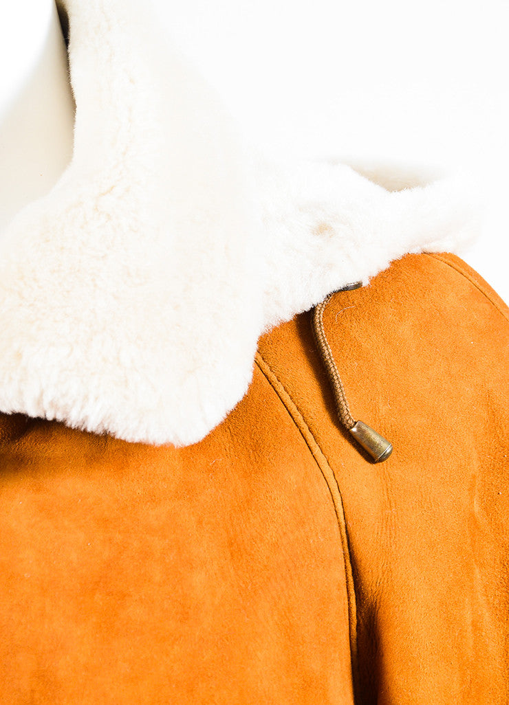 Hide Society Tan and Beige Suede and Shearling Hooded Coat Detail