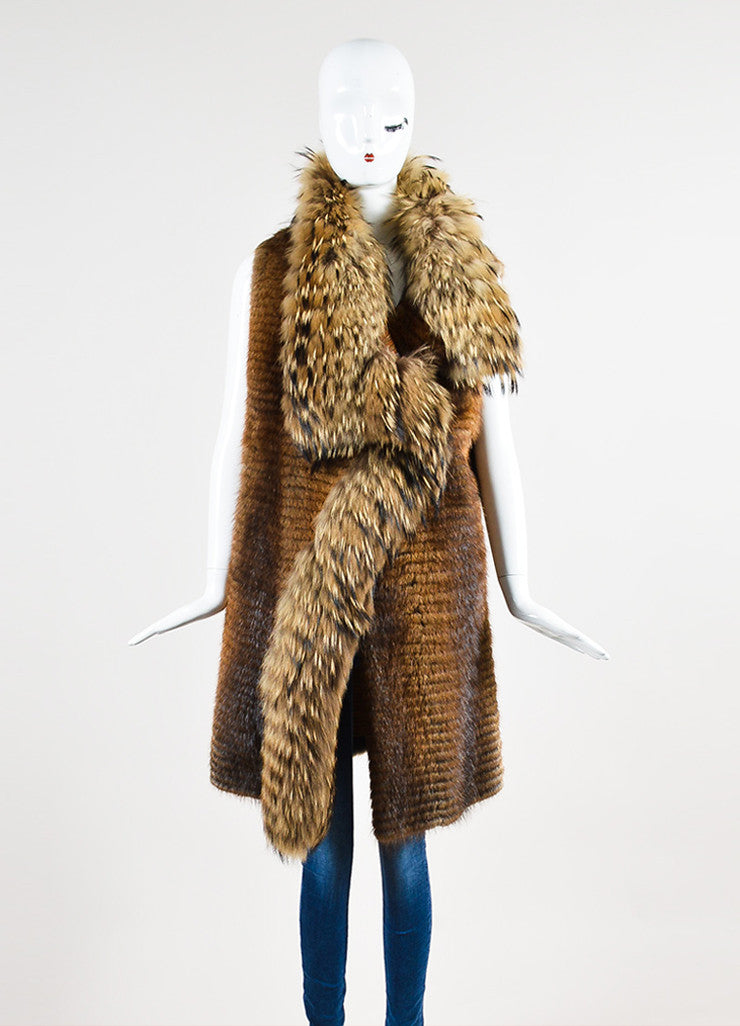 J. Mendel Brown, Beige, and Black Muskrat and Raccoon Fur Striped Knee Length Shawl Vest Backview
