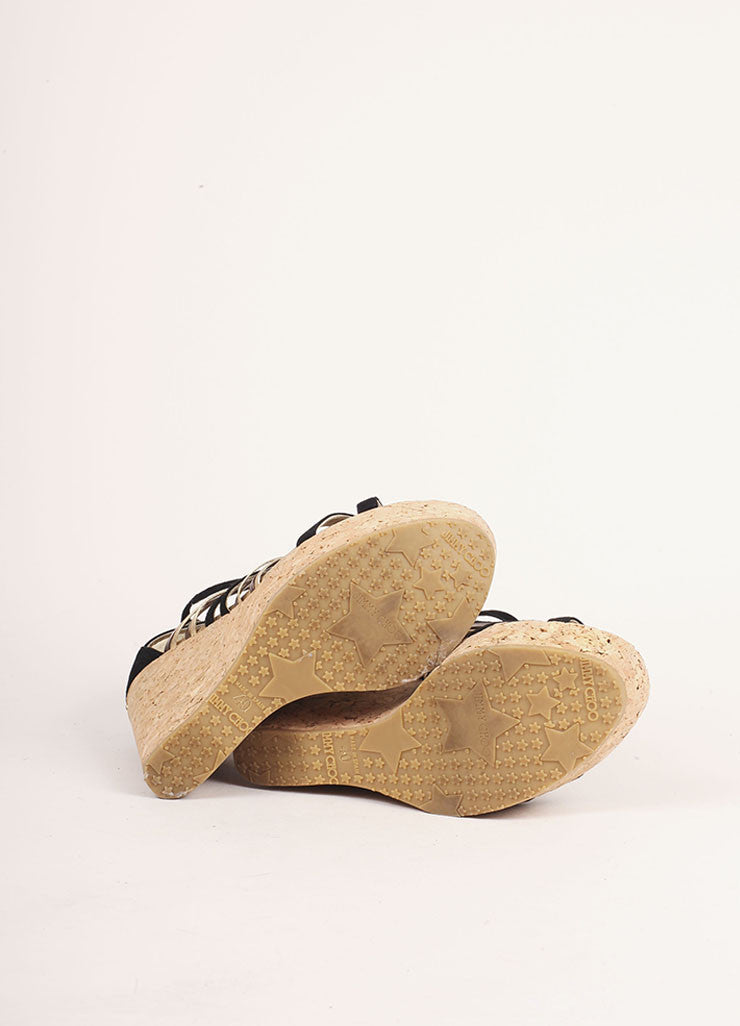 Jimmy Choo Black and Gold Suede Peekaboo Cork Wedges Outsoles