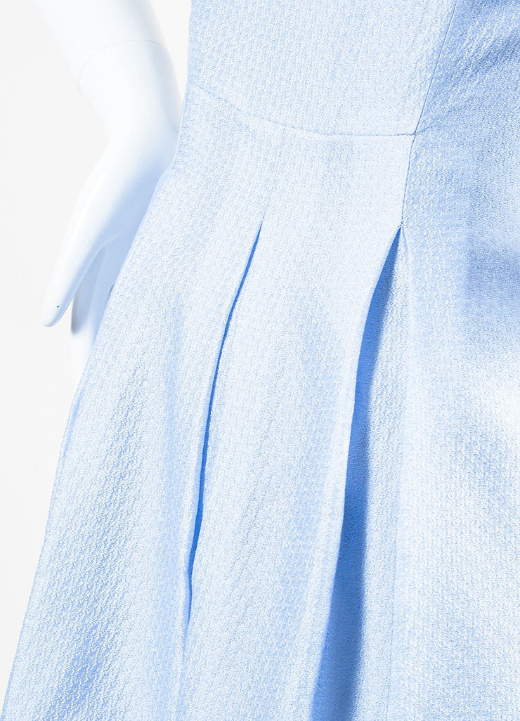 Periwinkle Blue Kay Unger Silk Textured Pleated A Line Dress Detail