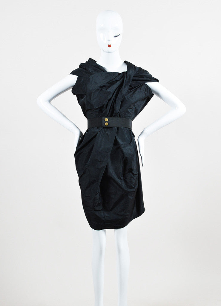 Lanvin Black Ruched Pleated Sleeveless Structured Belted Cocoon Dress
