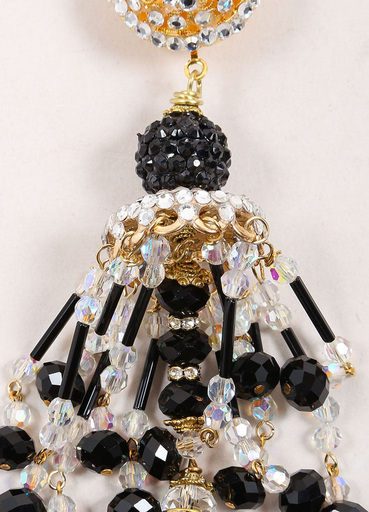Lawrence Vrba Black and Gold Toned Bead and Rhinestone Chandelier Earrings Detail