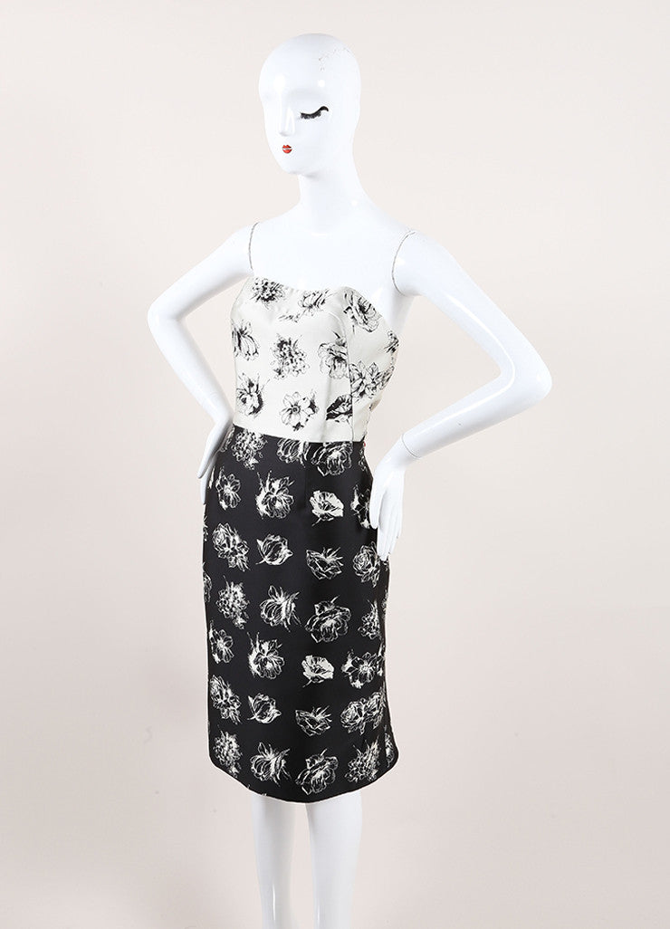 Lela Rose New With Tags Grey and Black Silk Floral Strapless Sheath Dress Sideview