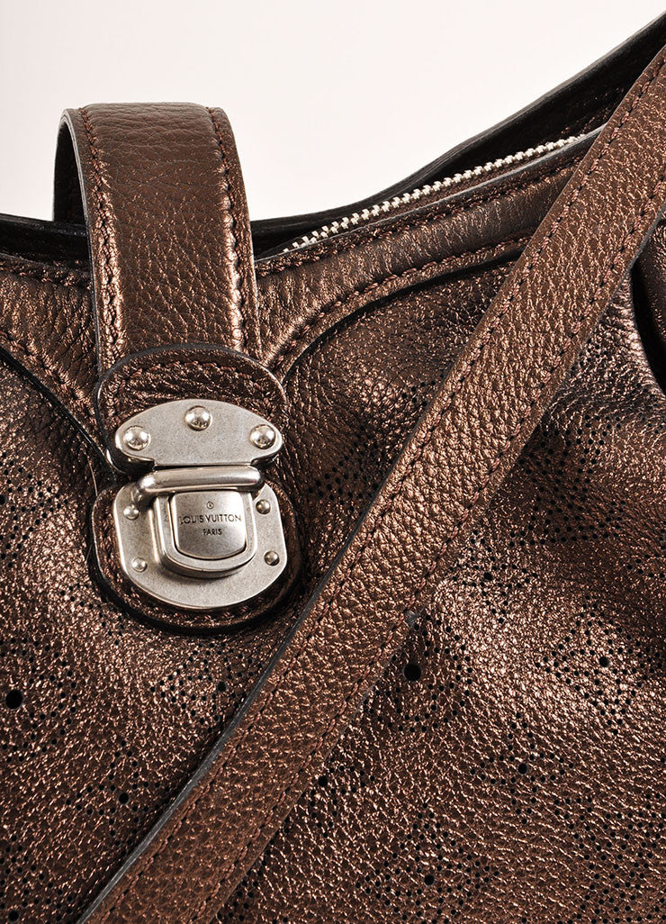 "Louis Vuitton Bronze Metallic ""Mordore"" Perforated Leather ""Mahina XS"" Bag Detail 2"