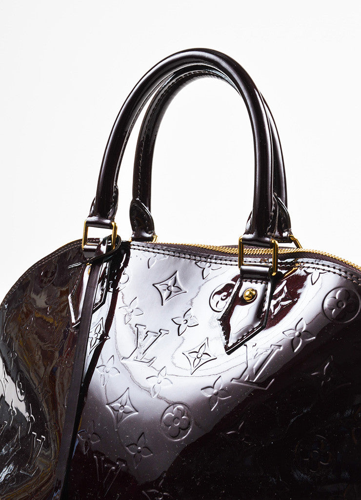 "Louis Vuitton Burdungy Monogram Vernis ""Alma GM"" Handbag Detail 2"