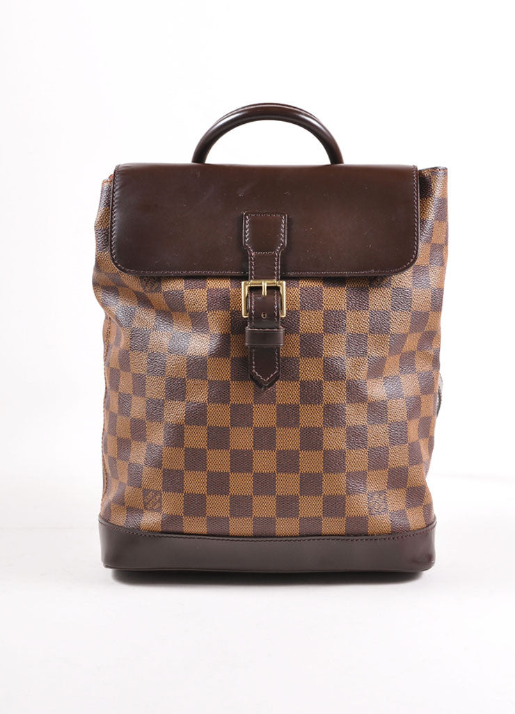 "Louis Vuitton Brown Damier Canvas Ebene ""Soho"" Backpack Frontview"