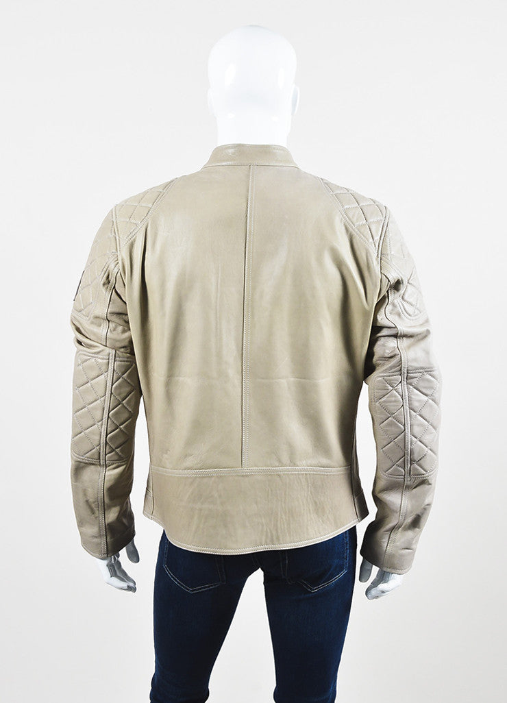 "Men's Belstaff Beige Leather Quilted ""Braxton"" Moto Jacket Back"