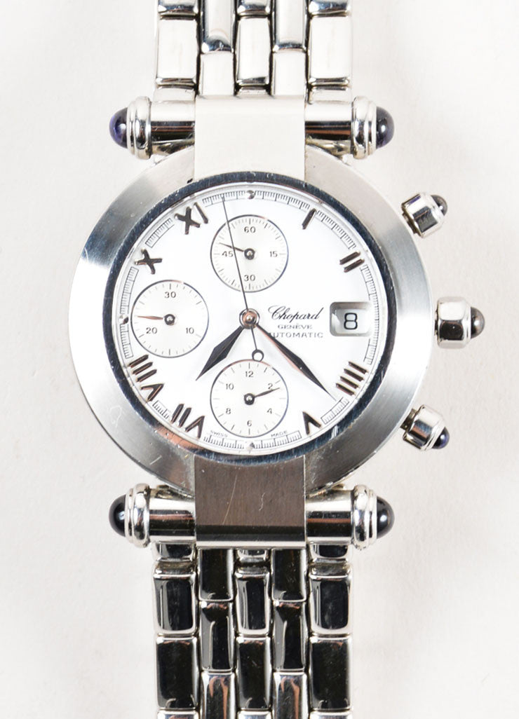 "Chopard Silver Stainless Steel ""Imperiale"" Chronograph Bracelet Watch Detail"