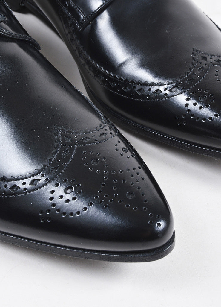Mens Black Dolce & Gabbana Leather Lace Up Oxford Shoes Detail