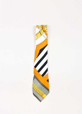 Men's Black White Yellow Hermes Woven Silk Printed Necktie Front 2