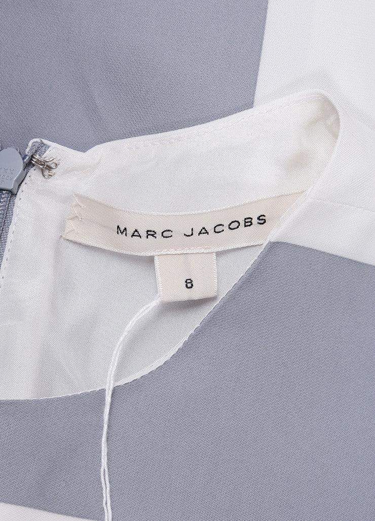 Marc Jacobs New With Tags Grey and White Stripe Print Pleated Short Sleeve Dress Brand