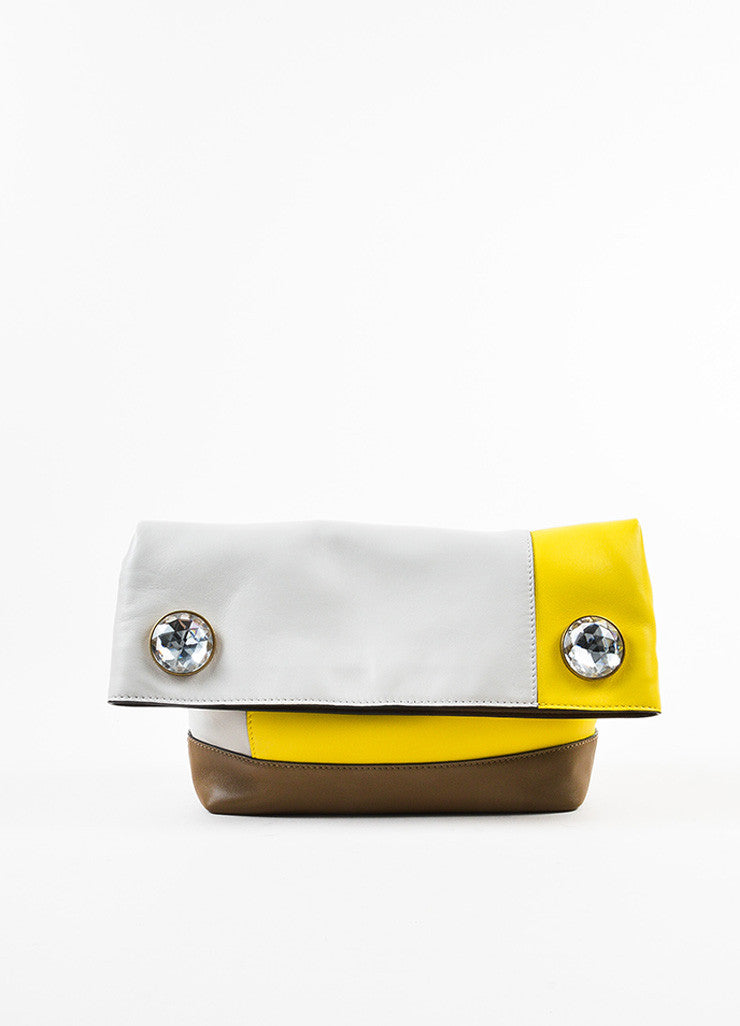 "Marni Yellow, Brown, and Grey Leather Colorblock ""Pod"" Fold Over Clutch Bag Frontview"