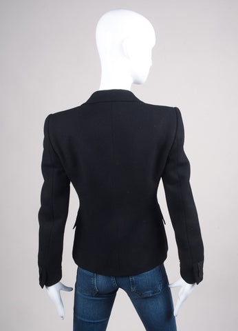 Moschino Black Wool Bow Embellished Blazer Backview