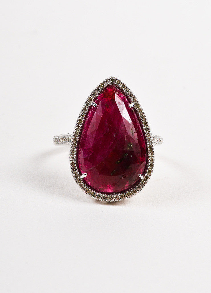 18k White Gold Pear Ruby Pave Diamond Tear Drop Cocktail Ring Frontview
