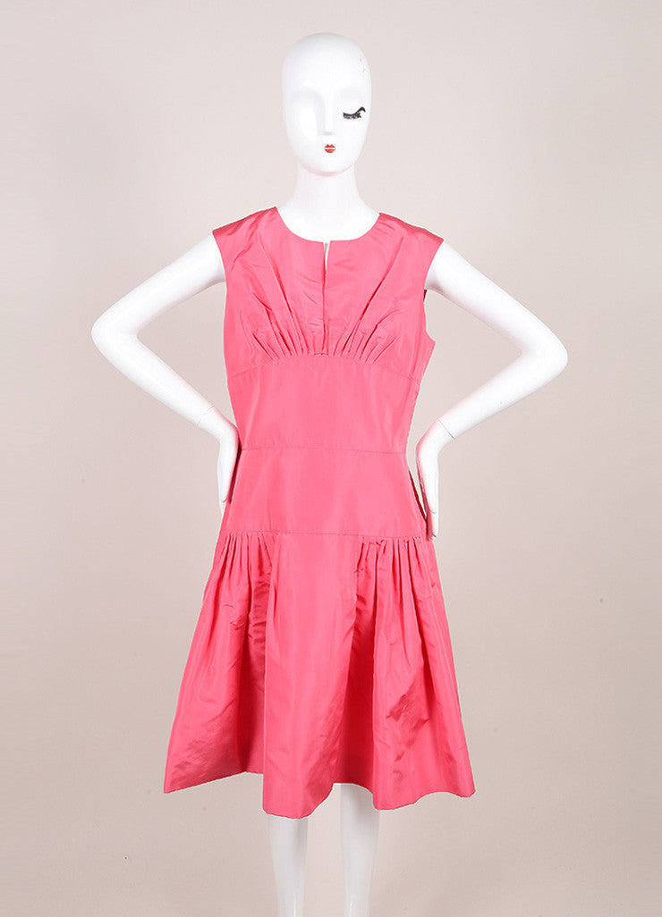 Oscar de la Renta Pink Silk Taffeta Pleated Bust and Drop Waist Sleeveless Dress Frontview