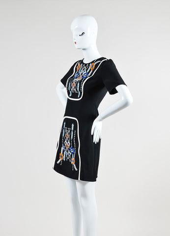 "Black, White, and Multicolor Embellished Peter Pilotto ""Atari"" Short Sleeve Dress Sideview"