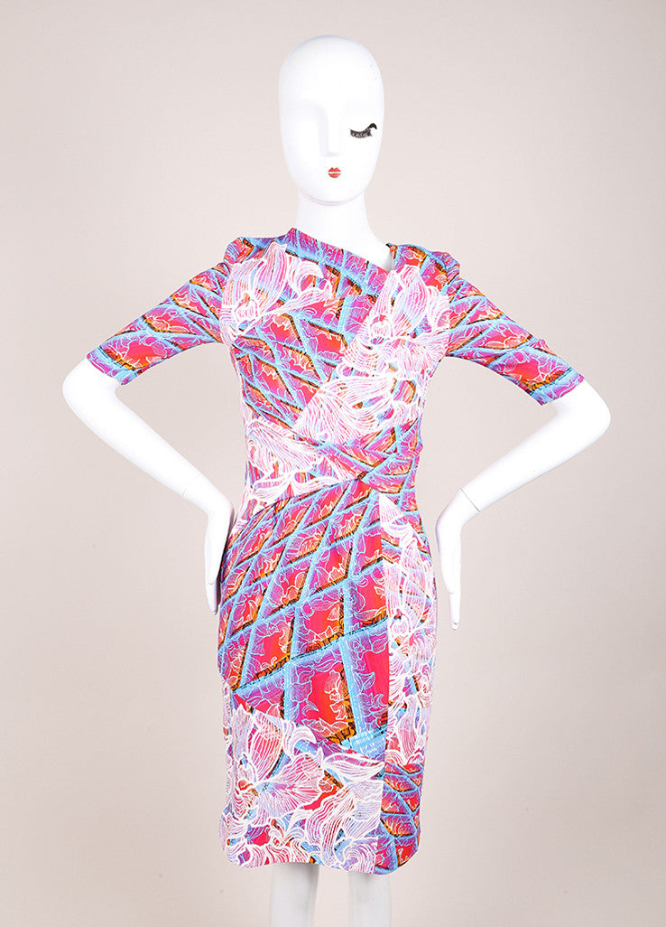 "Peter Pilotto New With Tags Pink and Blue Floral Ombre Half Sleeve ""Grid"" Dress Frontview"