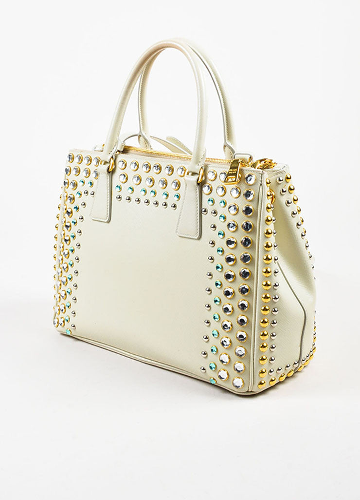 Prada Cream Saffiano Leather Rhinestone Stud Embellished Tote Handbag Sideview