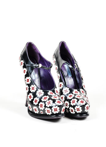 Black and White Prada Leather Flower Mary Jane Platform Pumps Frontview